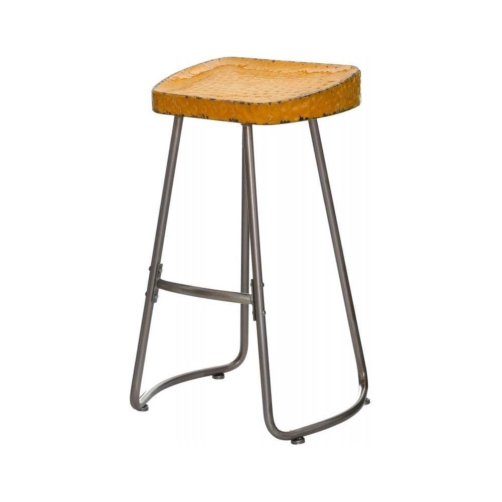 buy yellow artisan metal bar stool from fusion living