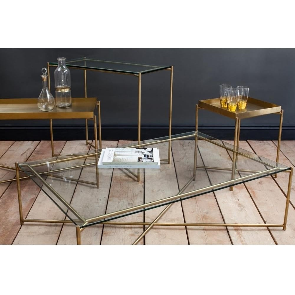 Buy Clear Glass Rectangular Table Brass Base At Fusion Living