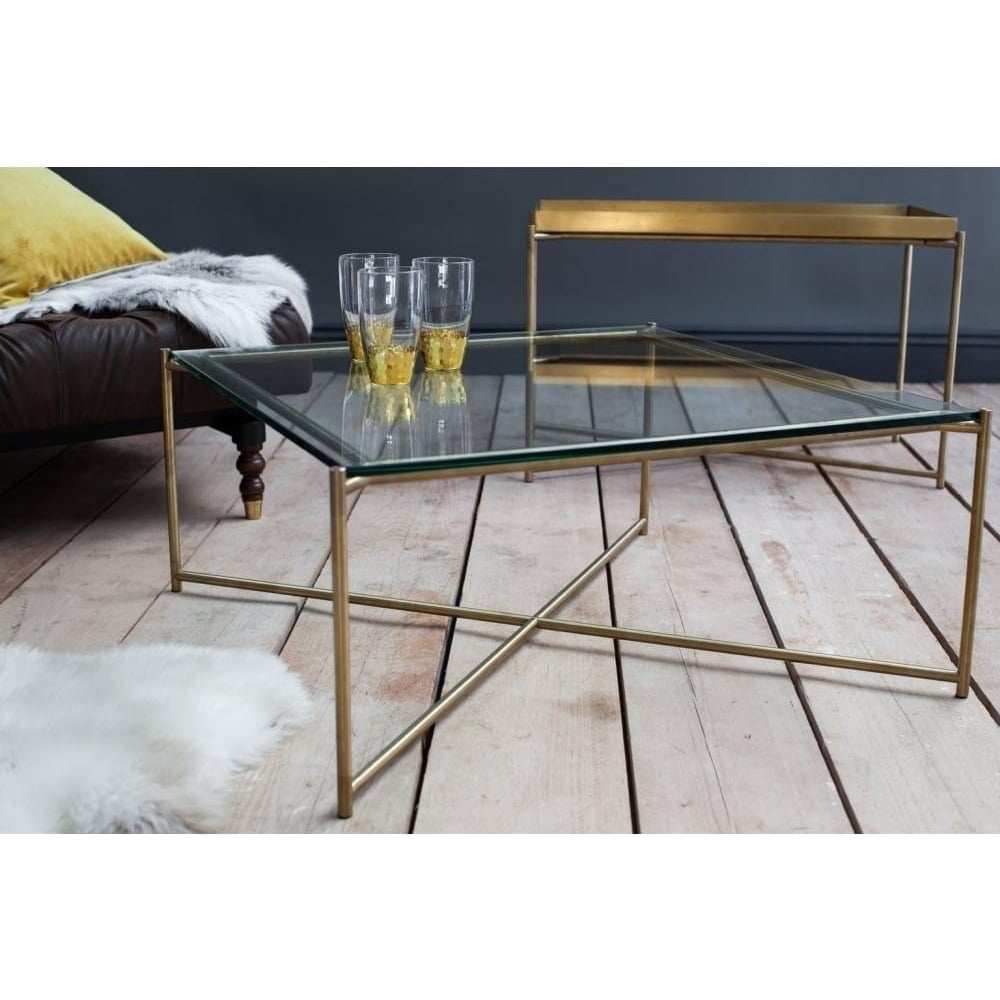 Buy Clear Glass Square Coffee Table With Brass Base At Fusion Living