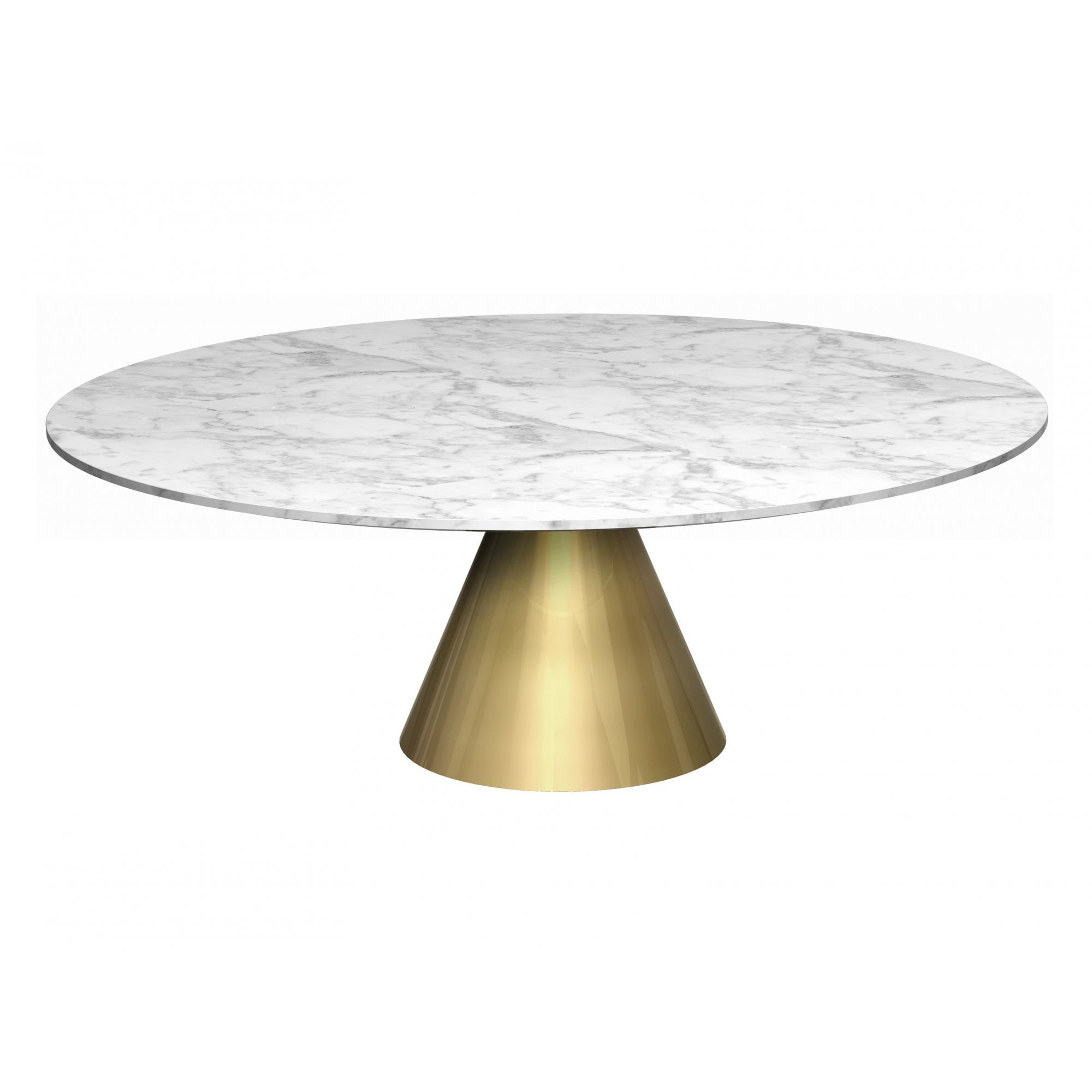 Large Round Marble Coffee Table With Conical Brass Bas