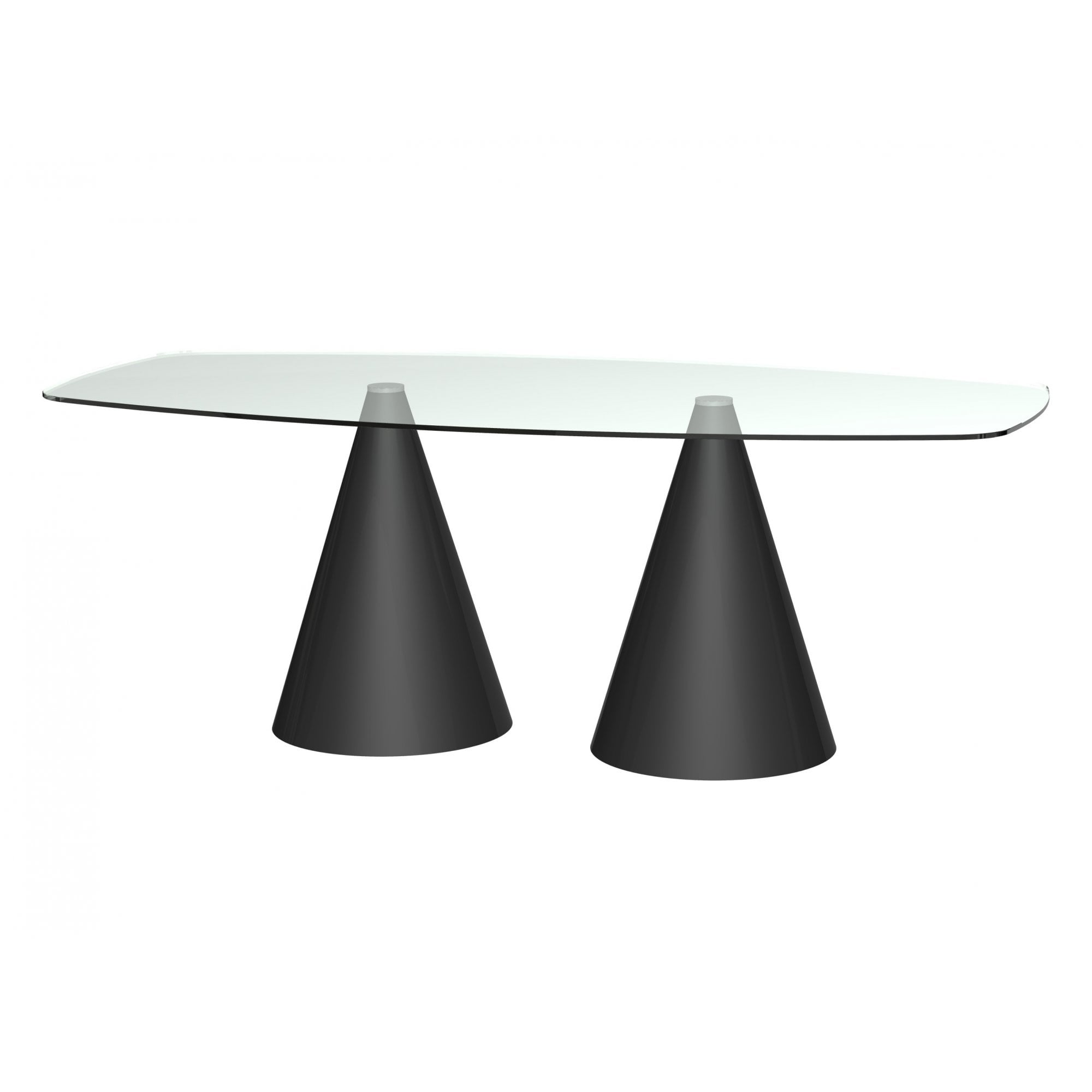 Rectangular Clear Glass Dining Table W Conical Black Base From Fusion