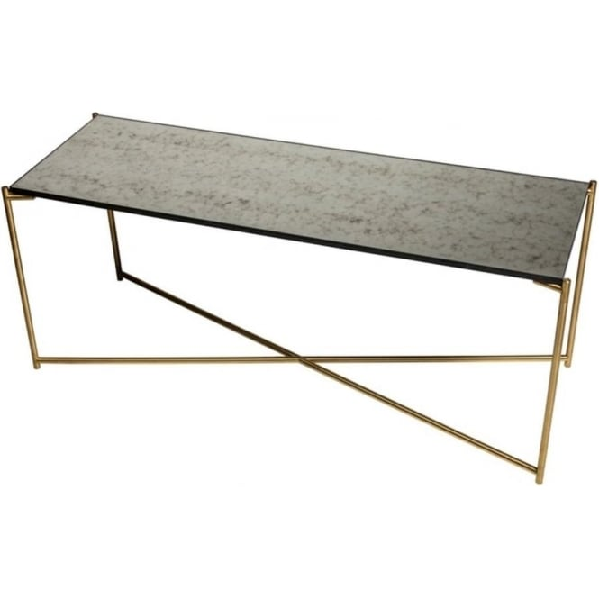 Buy Antiqued Glass Coffee Table Gun Metal Base At Fusion: Buy Glass Low Console Media Table & Brass Cross Base At