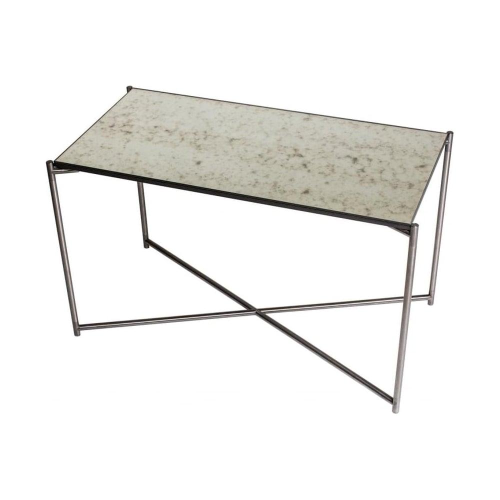 Buy Antiqued Glass Coffee Table Gun Metal Base At Fusion: Buy Antiqued Glass Rectangular Table & Gunmetal Base At