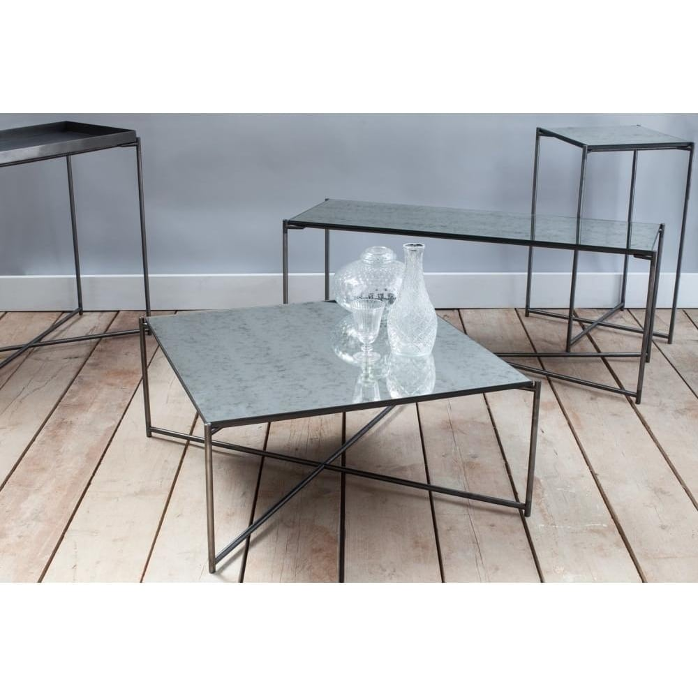 new style 35bf8 6fcde Antiqued Glass Small Console Table with Gun Metal Cross Base