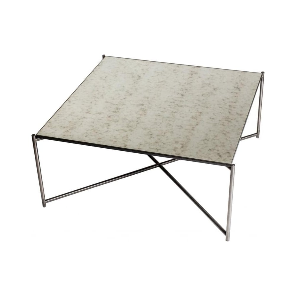 Buy antiqued glass coffee table gun metal base at fusion living Metal square coffee table