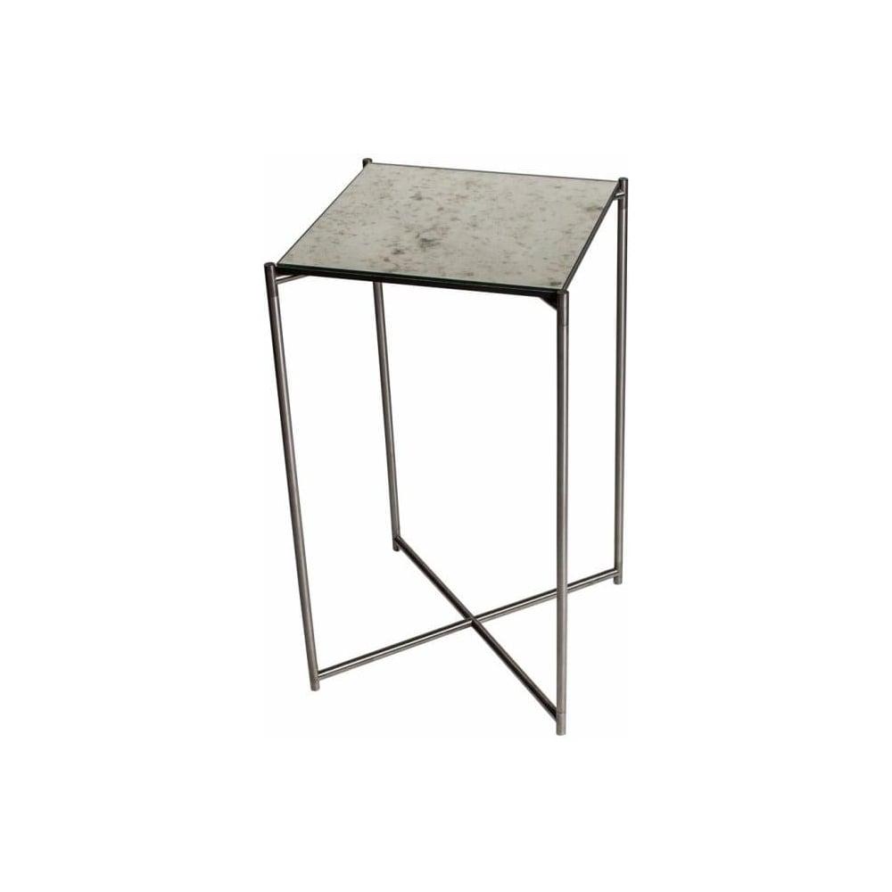 Buy Antiqued Glass Coffee Table Gun Metal Base At Fusion: Buy Antiqued Glass Square Lamp Table & Gun Metal Base At
