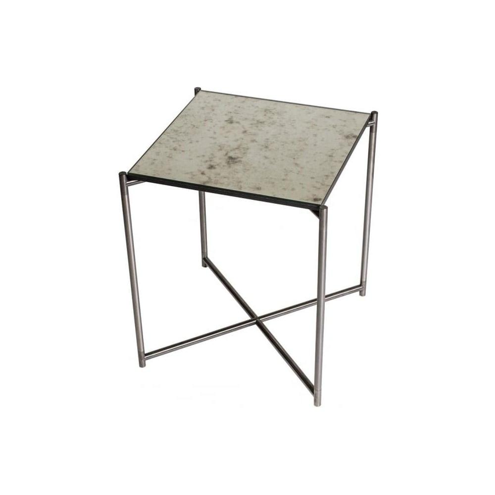 Buy Antiqued Glass Coffee Table Gun Metal Base At Fusion