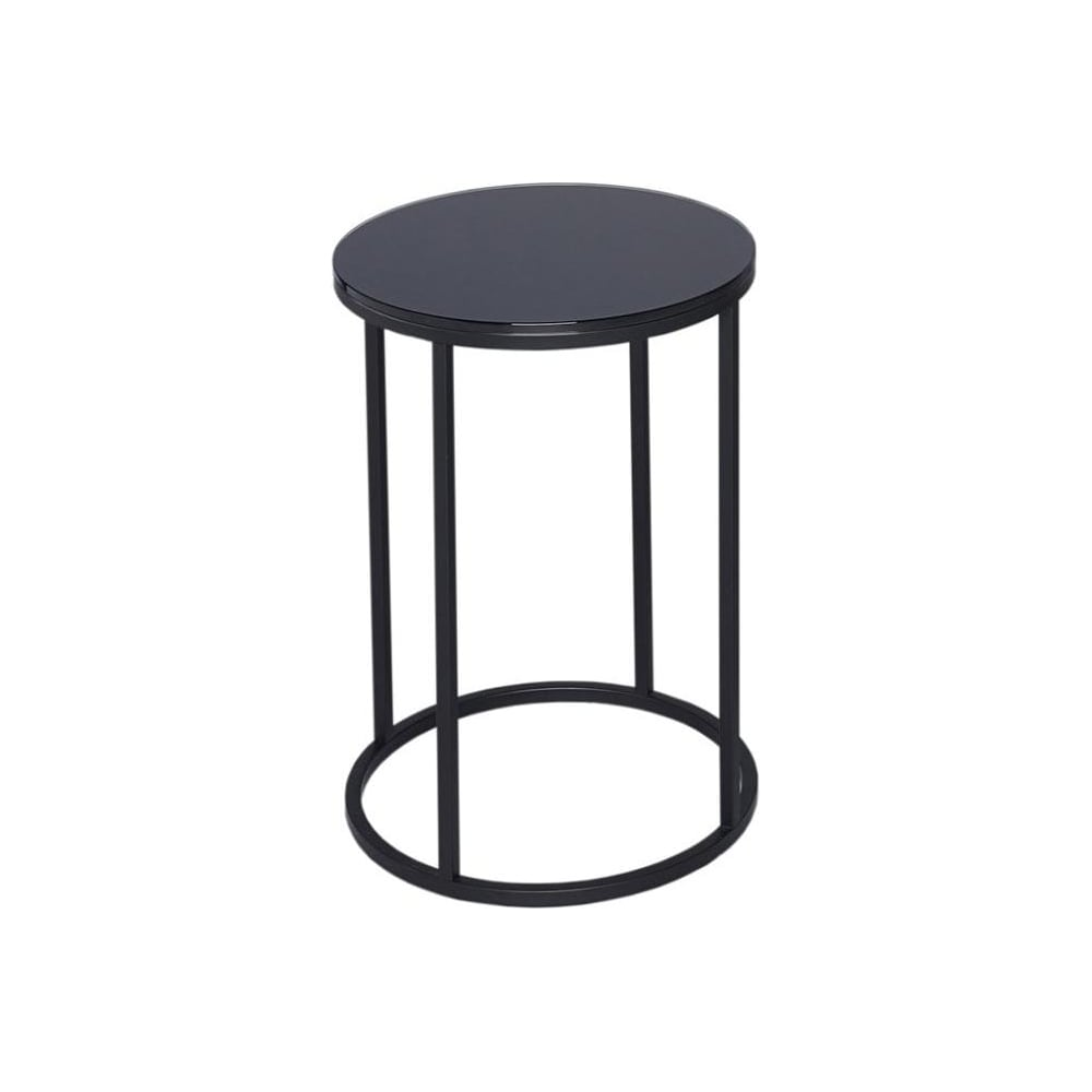 gillmore space black glass and black metal contemporary circular side table p905
