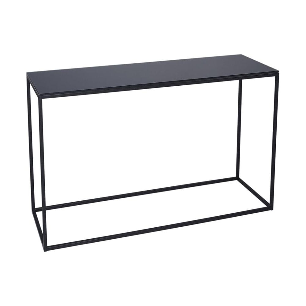 Perfect Black Glass And Black Metal Contemporary Console Table