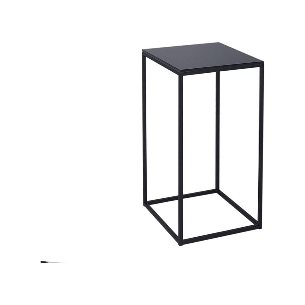 Buy Black Glass And Black Metal Square Lamp Table From