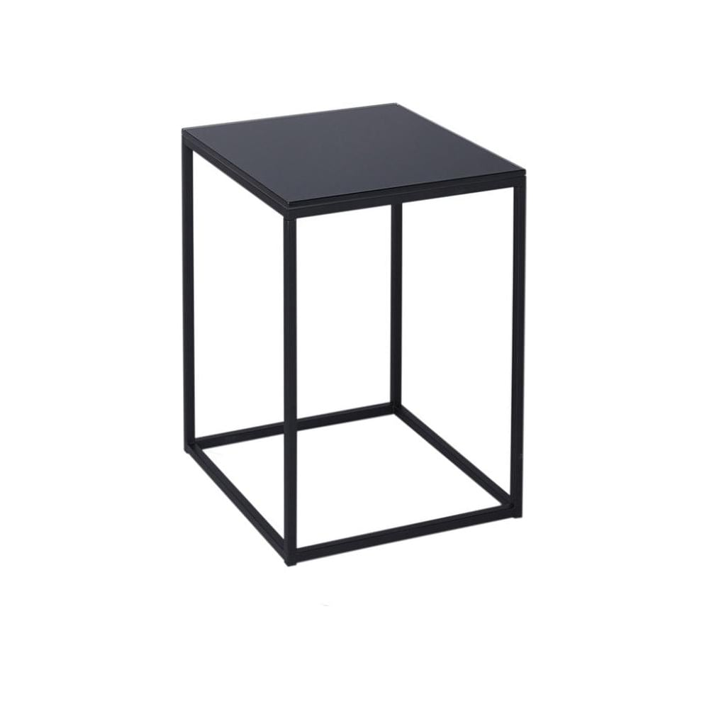 Black glass and black metal contemporary square side table