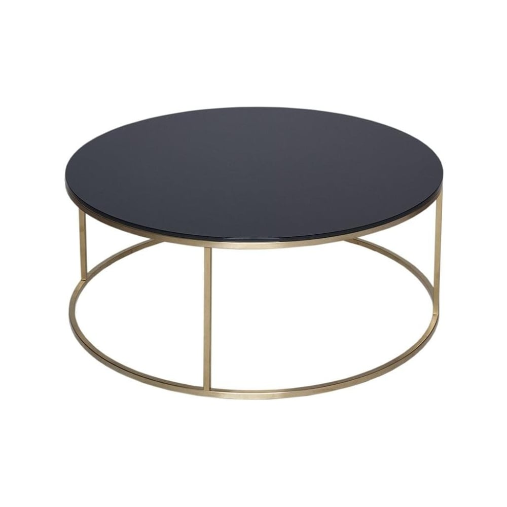 Gold Coffee Table Uk: Buy Black Glass And Metal Circular Coffee Table From