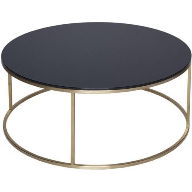 Circular Gold Glass Coffee Table: Buy Black Glass And Metal Circular Coffee Table From