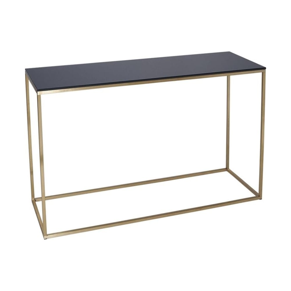 buy black glass and gold metal console table from fusion living