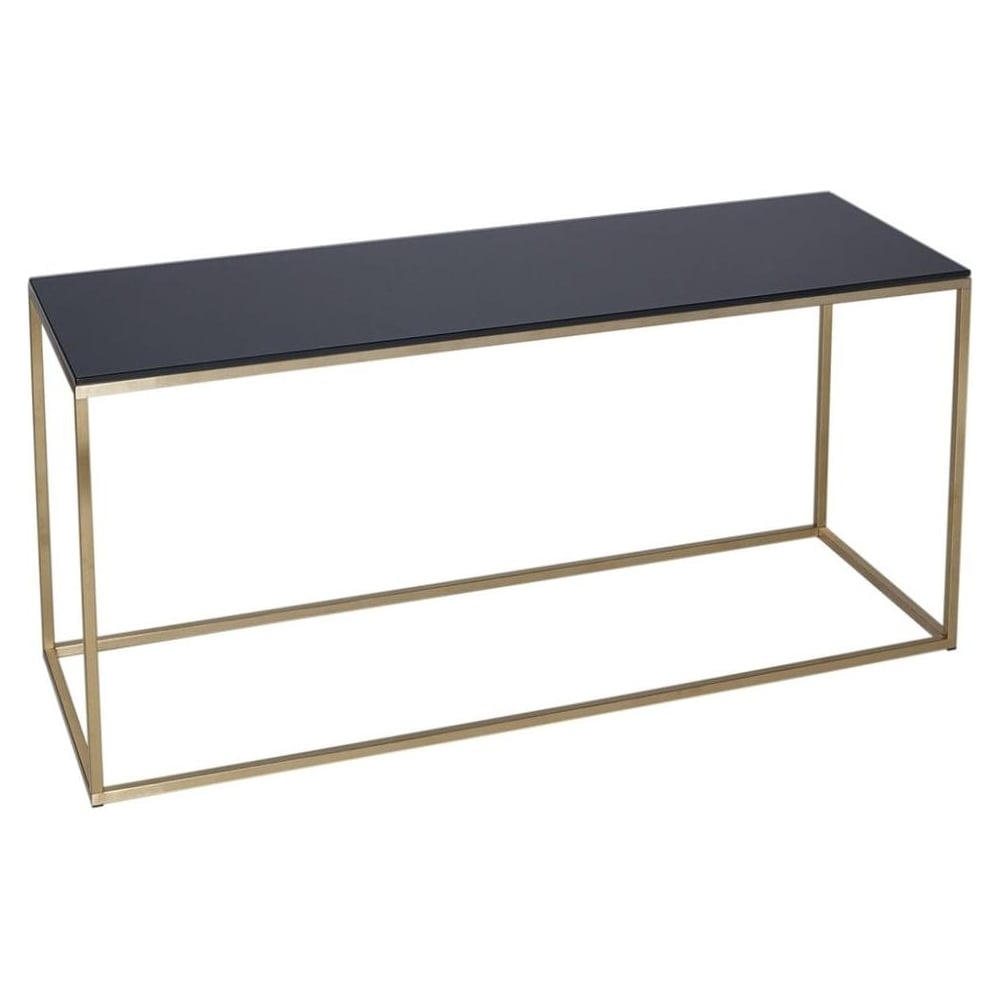 Black Glass And Gold Metal Contemporary TV Stand