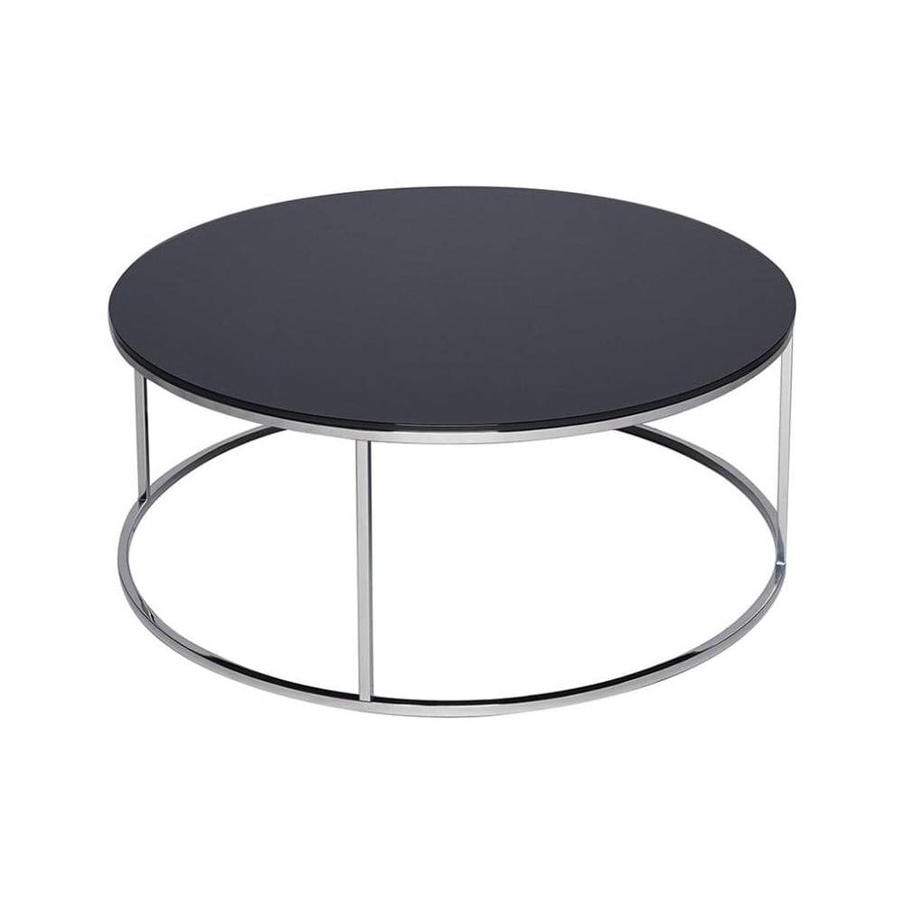 Silver Glass Coffee Table Uk: Buy Black Glass And Metal Circular Coffee Table From