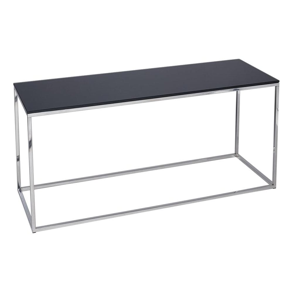 Black Glass And Silver Metal Contemporary TV Stand