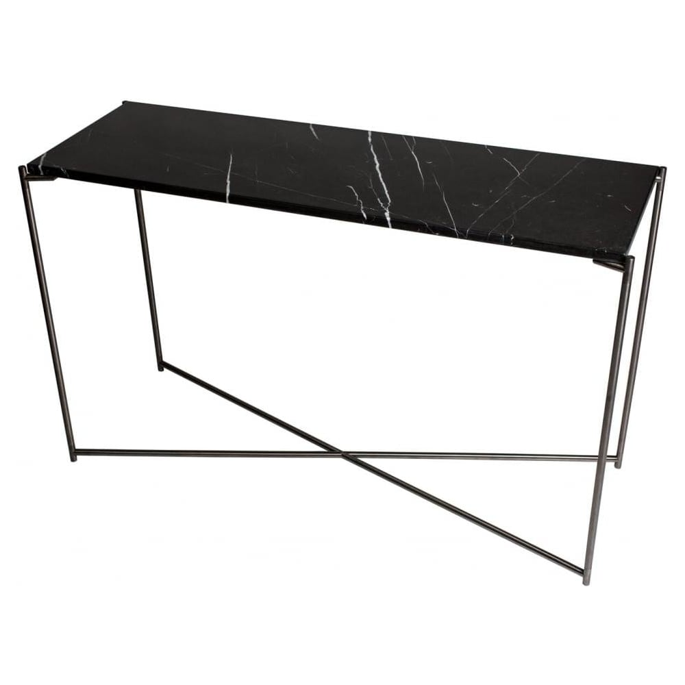 Buy Black Marble Square Coffee Table Gun Metal Base At: Buy Black Marble Large Console Table With Gunmetal Base At