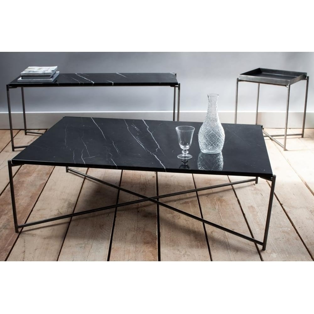 Black Marble Large Console Table With Gun Metal Cross Base