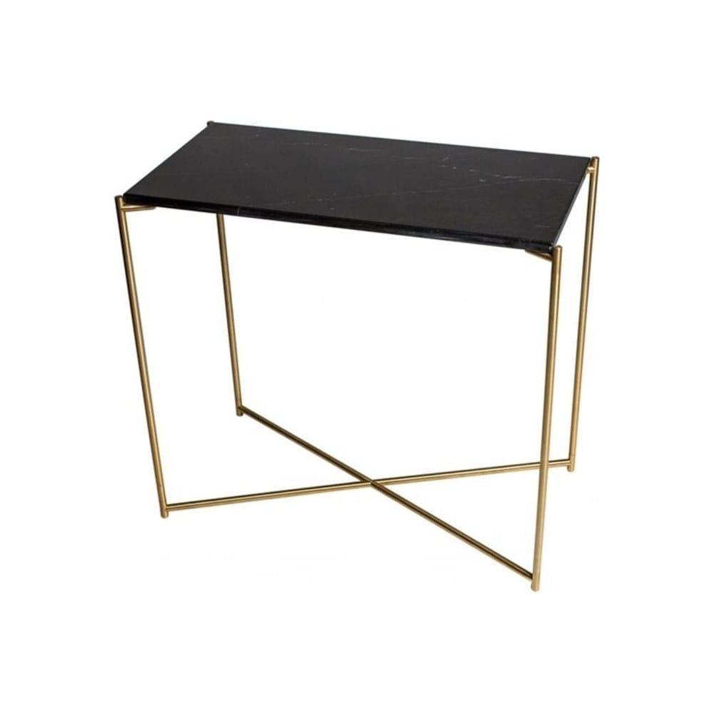 Superbe Black Marble Small Console Table With Brass Cross Base