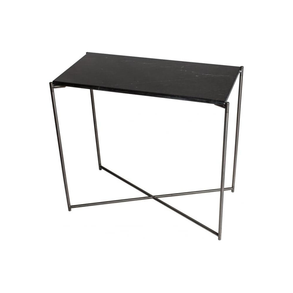 Buy Black Marble Square Coffee Table Gun Metal Base At: Buy Black Marble Small Console Table & Gun Metal Base At