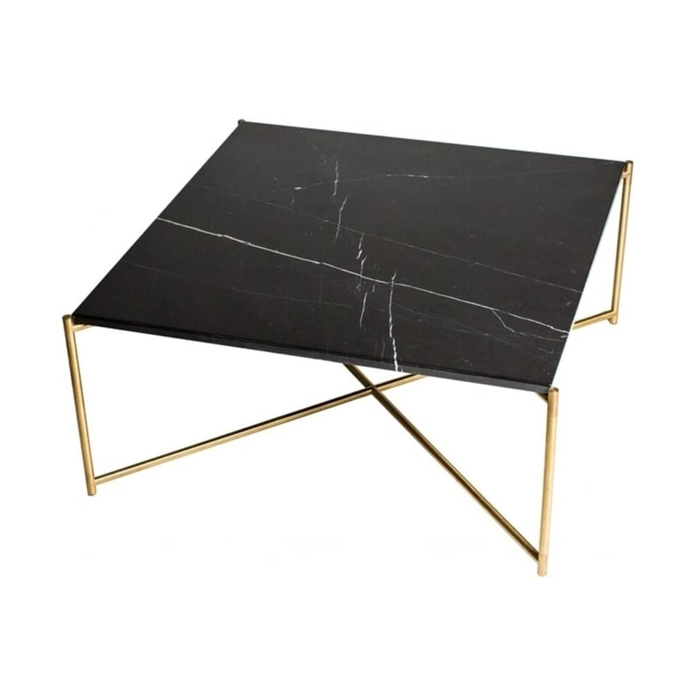 Black marble square coffee table with brass cross base
