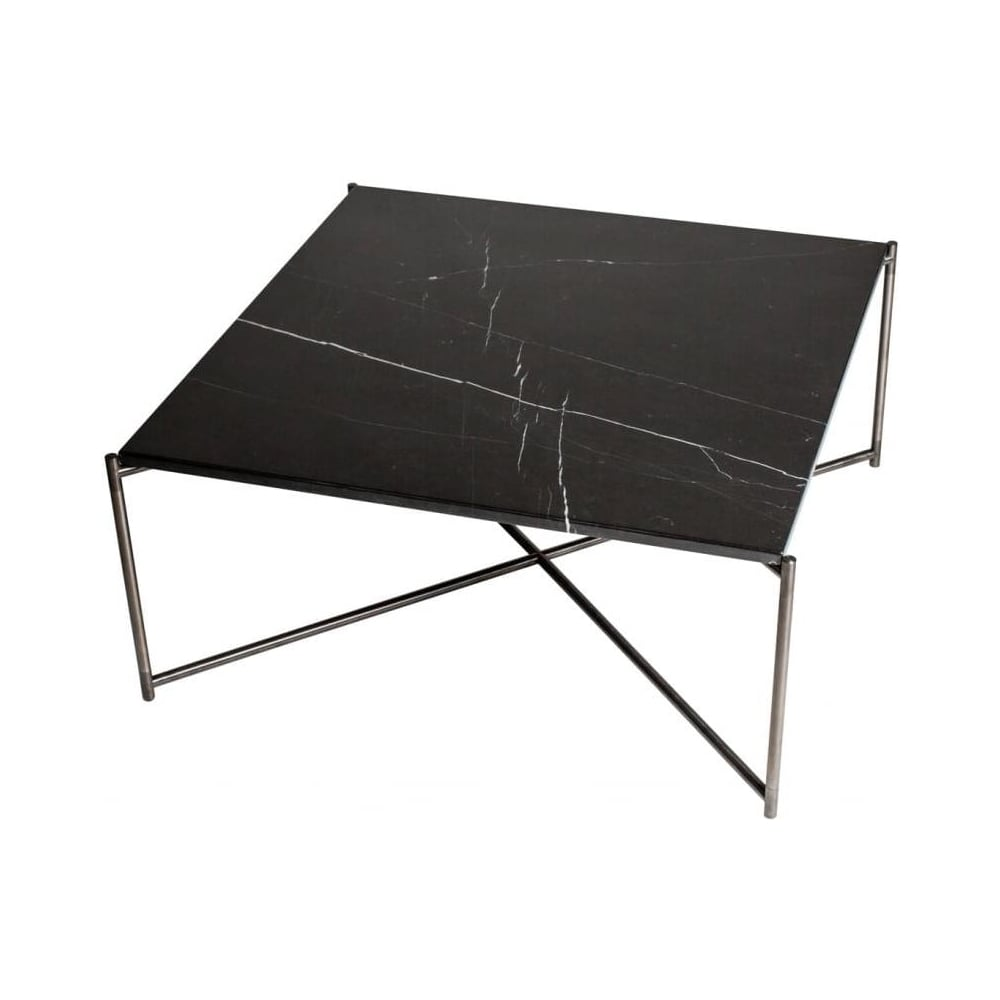 Buy Black Glass And Metal Square Coffee Table From Fusion: Buy Black Marble Square Coffee Table & Gun Metal Base At