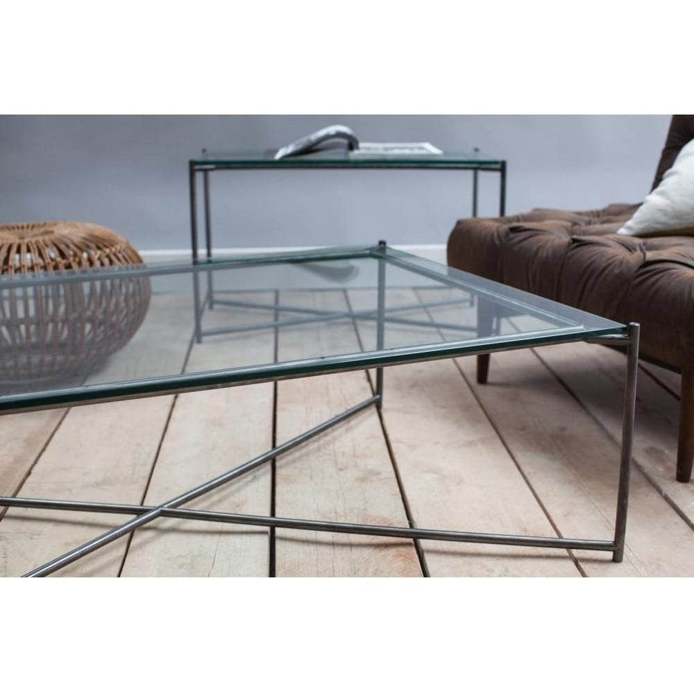Buy Clear Glass Small Console Table Gunmetal At Fusion Living