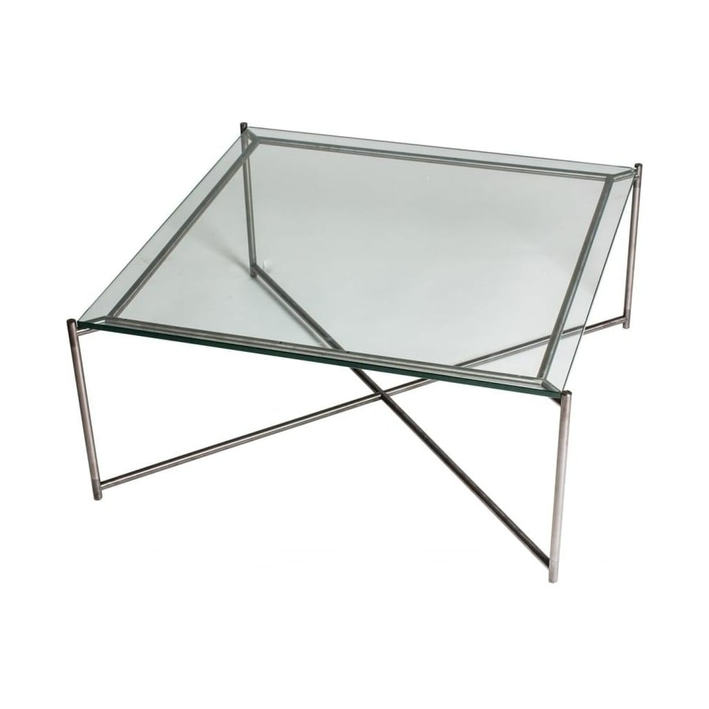 Buy Black Glass And Metal Square Coffee Table From Fusion: Buy Clear Glass Square Coffee Table & Gunmetal Base At