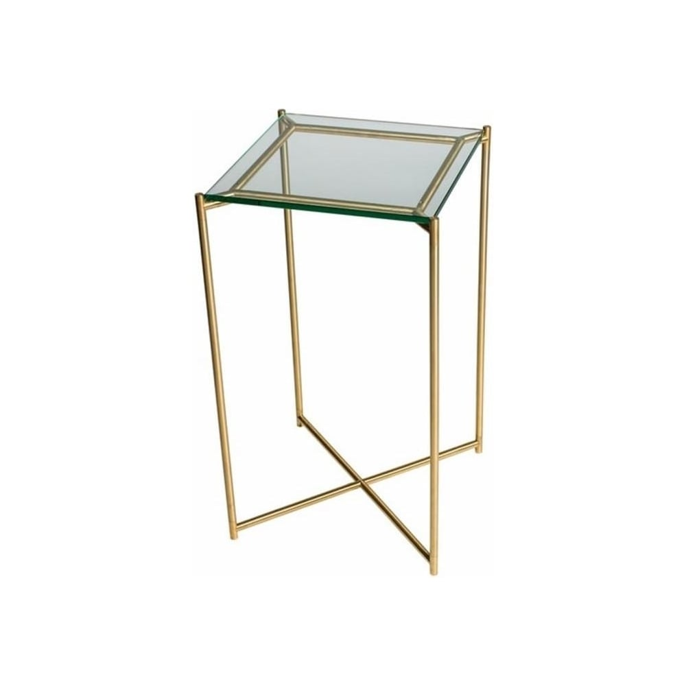 Buy clear glass square lamp table with brass base at fusion living clear glass square lamp table with brass cross base mozeypictures Gallery