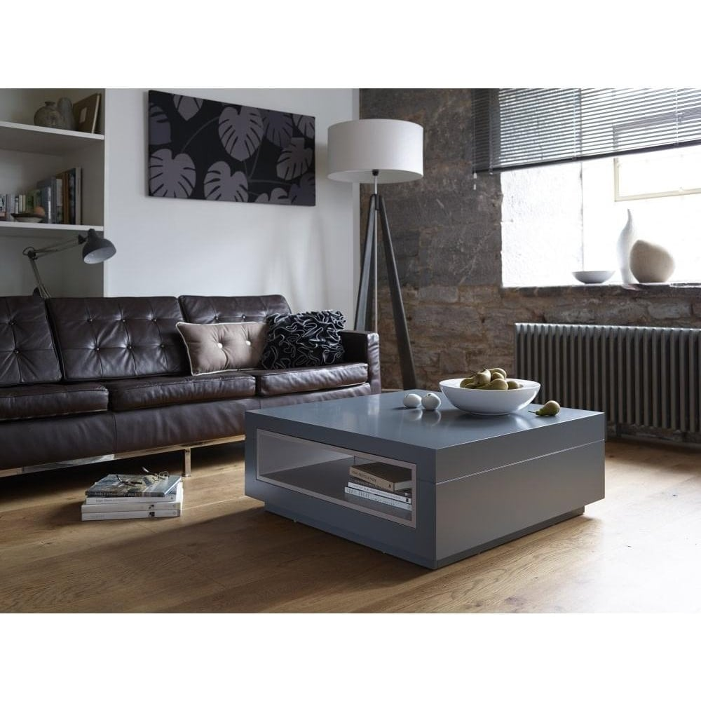 Contemporary Coffee Table.Graphite Grey And Stone Accent Contemporary Square Coffee Table