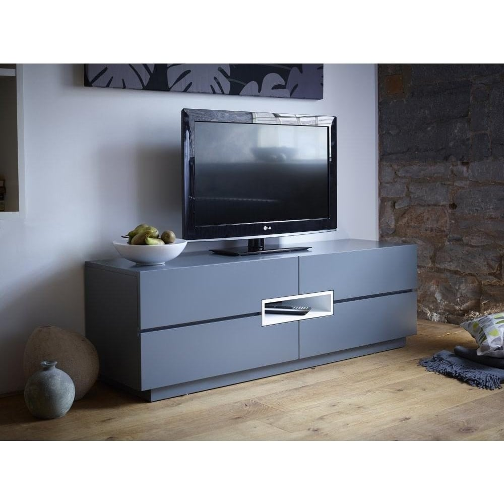 Buy Gillmore Space Grey And White Low Tv Sideboard From Fusion Living