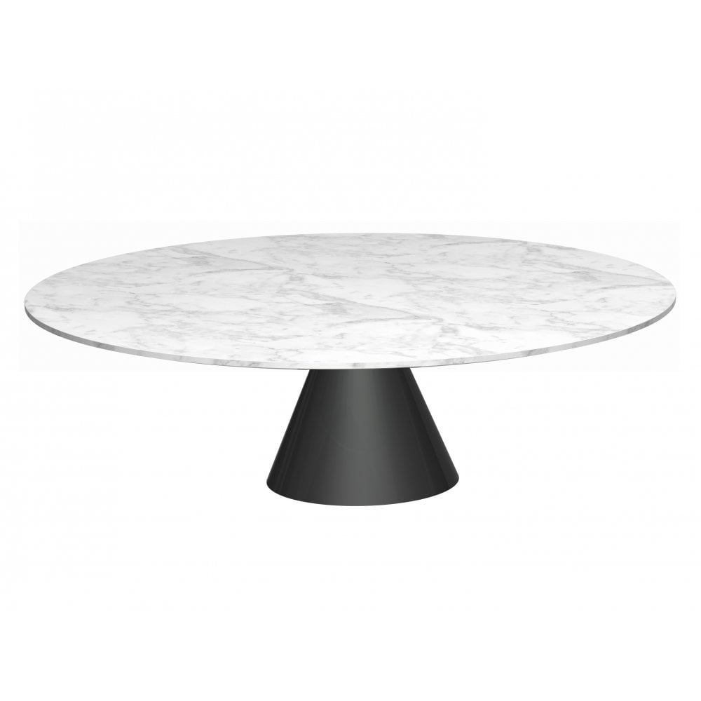 Large Round Marble Coffee Table With Conical Black Bas
