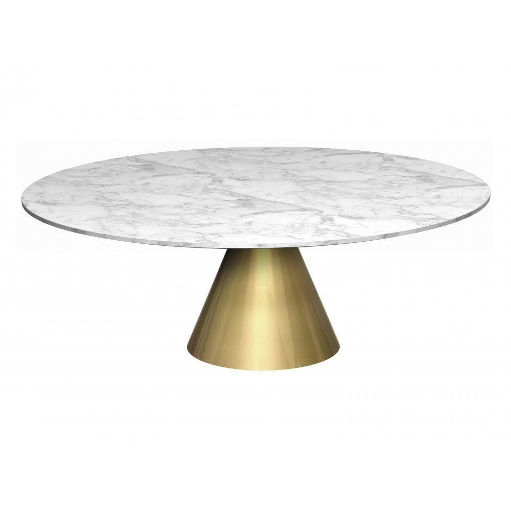 Round Marble Coffee Table: Large Round Marble Coffee Table With Conical Brass Bas