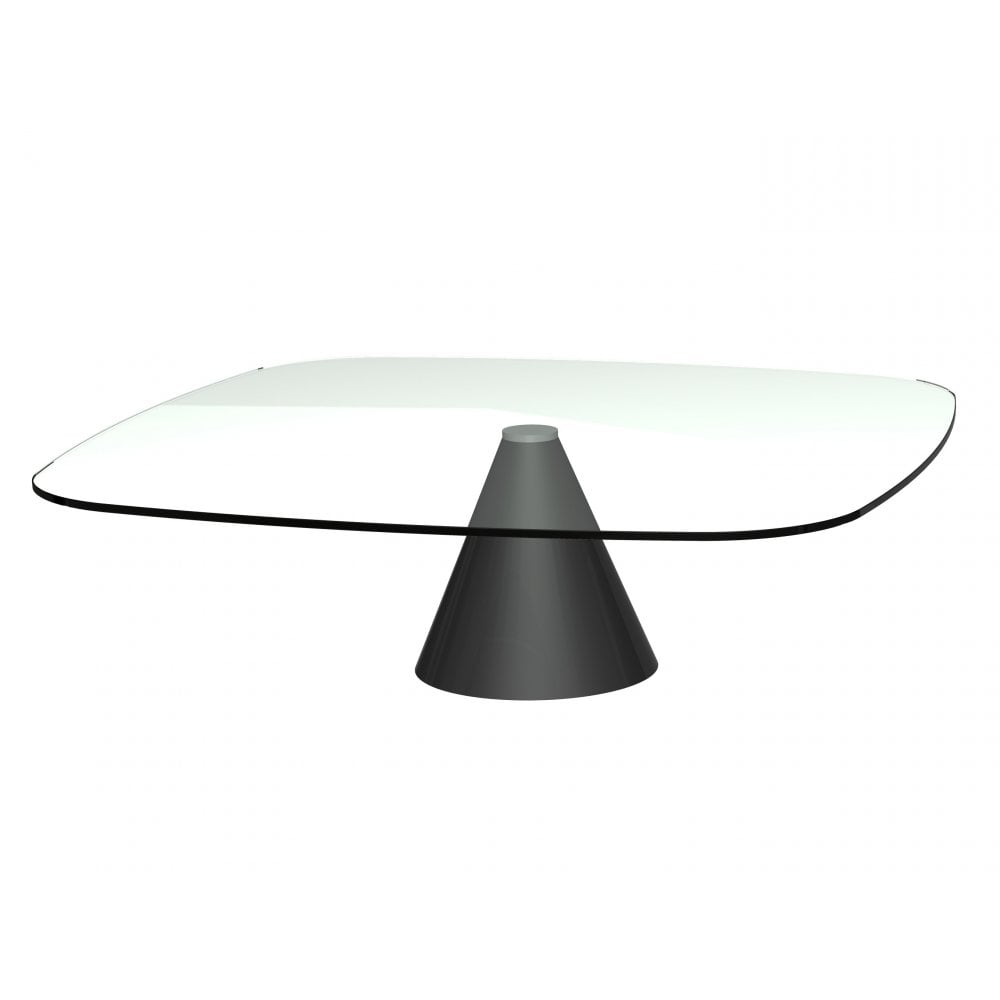 Large Square Clear Glass Coffee Table W Conical Black Base From Fusion
