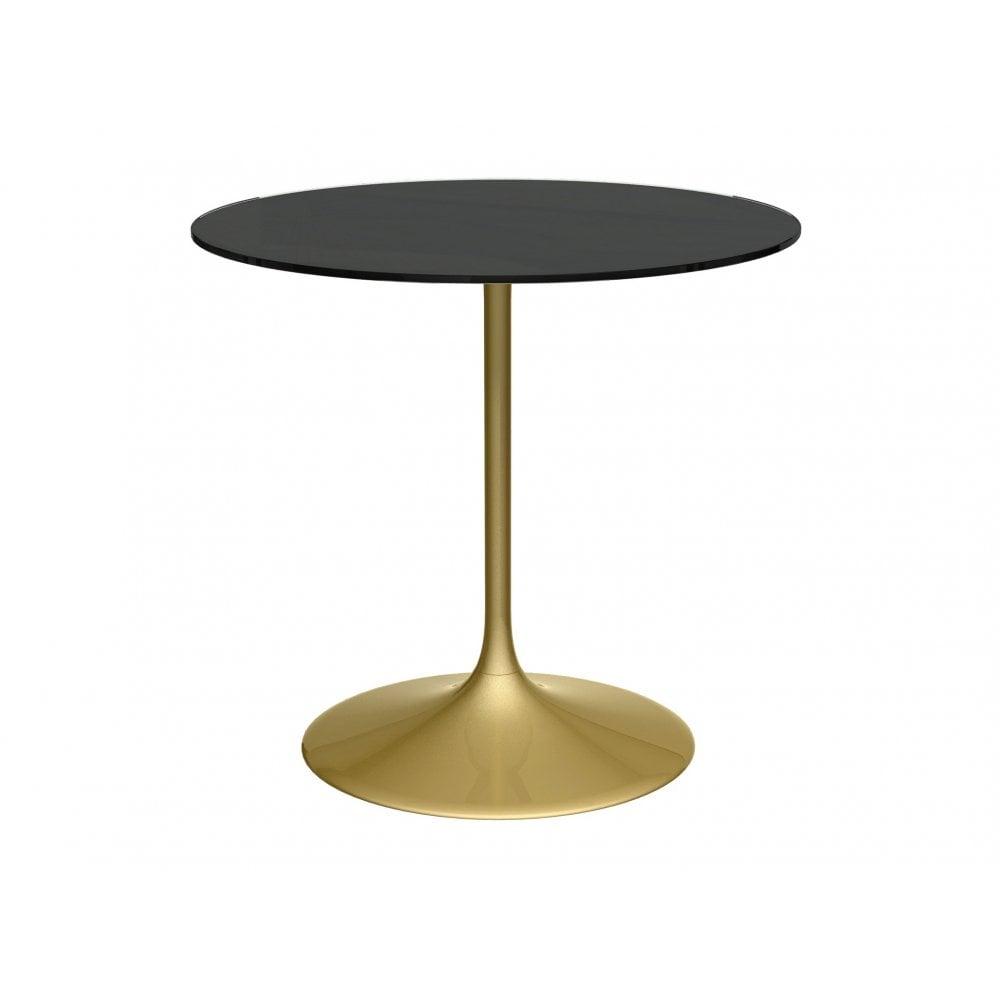 Incredible Pedestal Medium Dining Table Black Glass And Brass Interior Design Ideas Tzicisoteloinfo