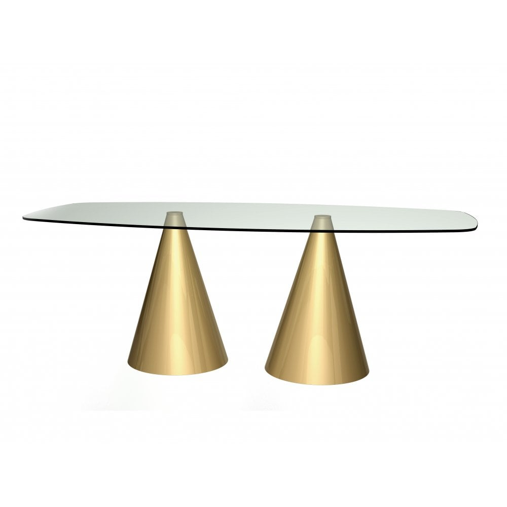 76c0ec0c92a Rectangular Clear Glass Dining Table w Conical Brass Base from Fusion
