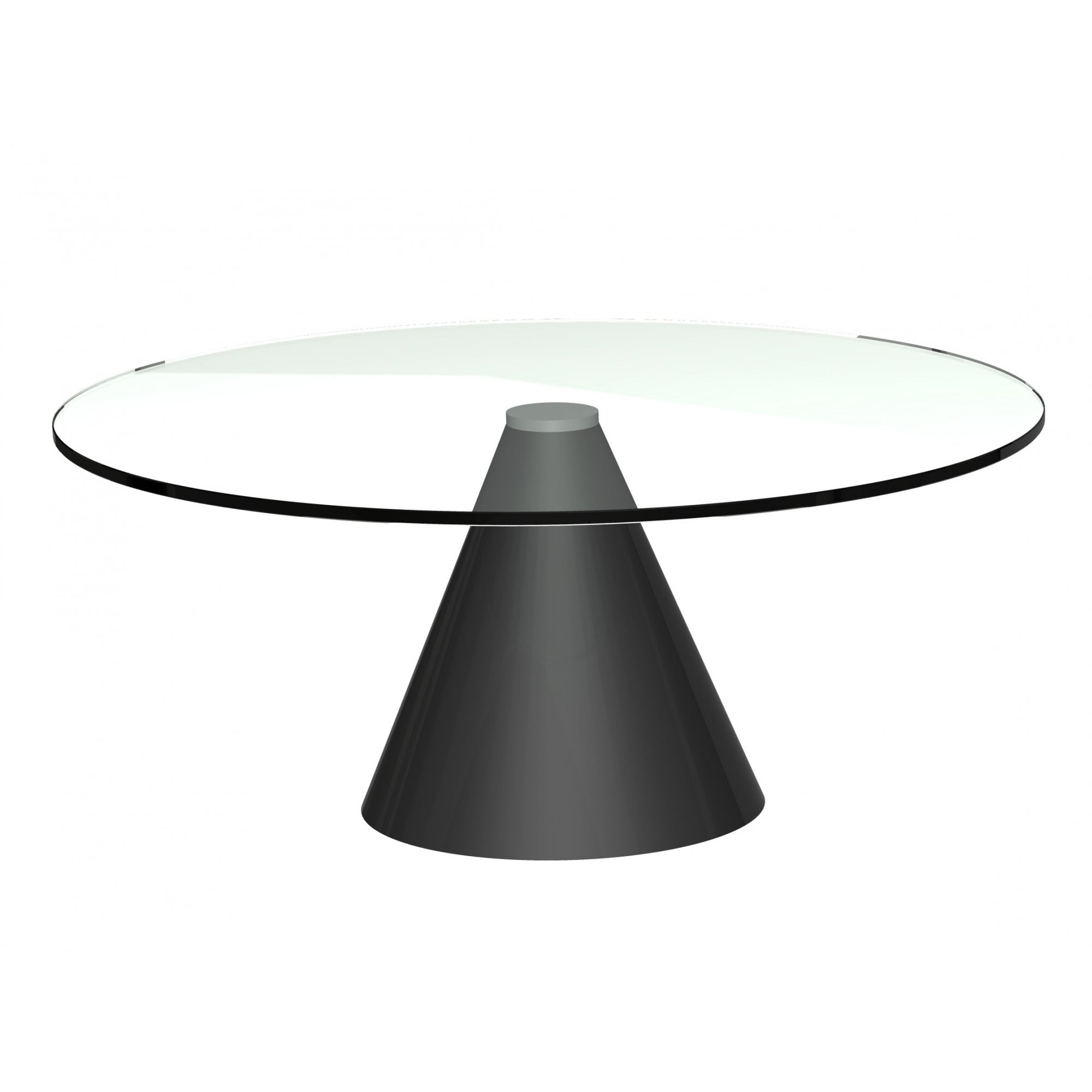 - Round Clear Glass Coffee Table W Conical Black Base From Fusion