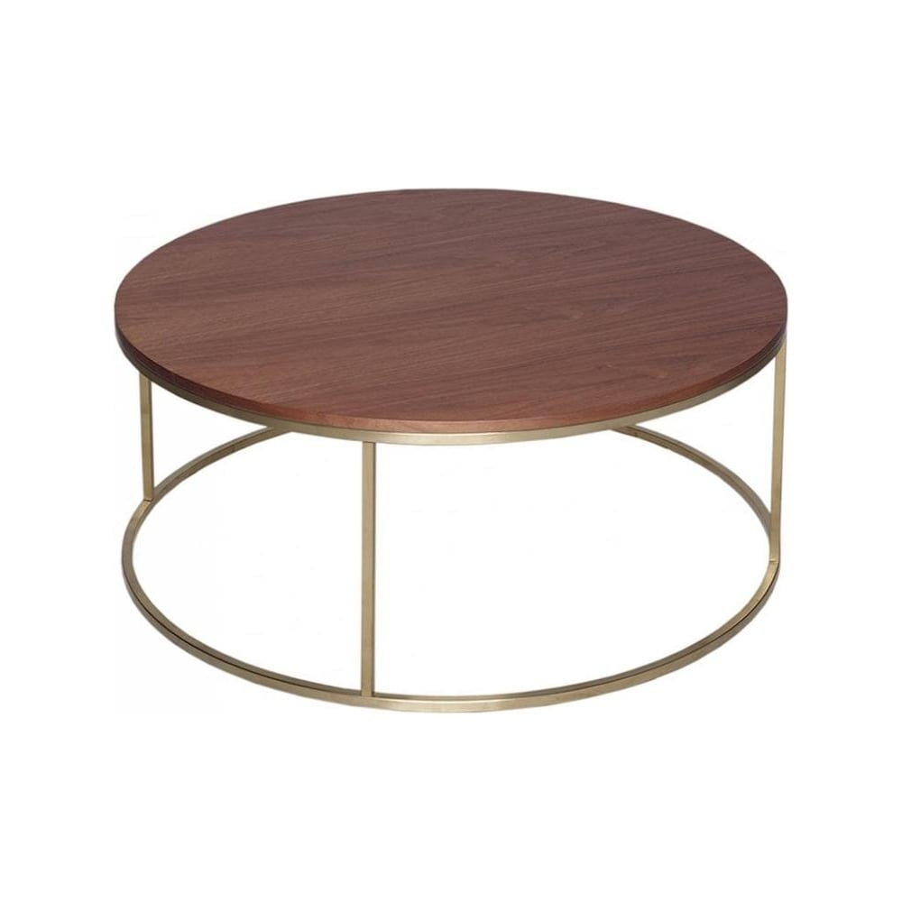 Gold Coffee Table Uk: Buy Walnut And Gold Metal Circular Coffee Table From