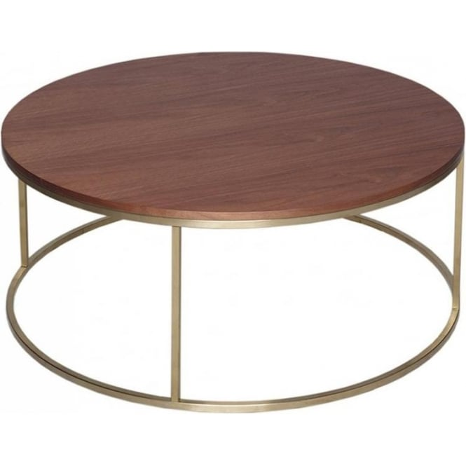 Buy Walnut And Gold Metal Circular Coffee Table From