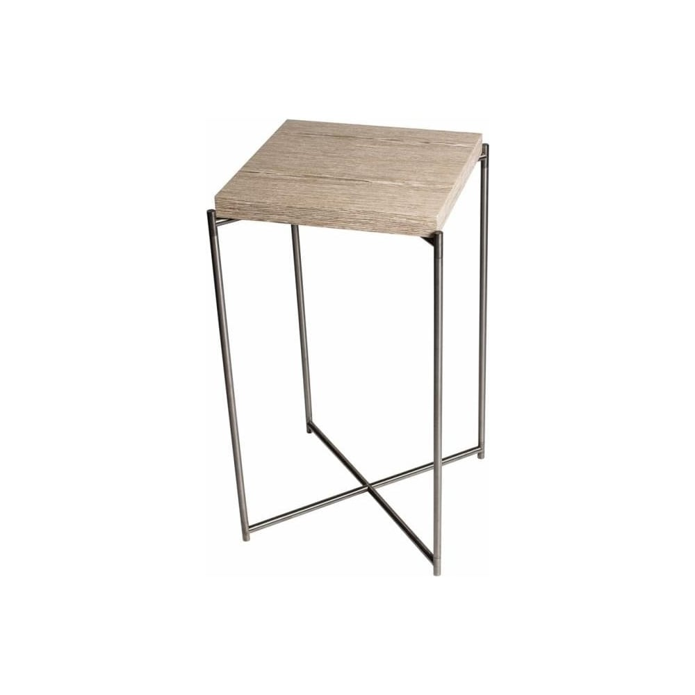 Buy weathered oak square lamp table gunmetal base at fusion living weathered oak square lamp table with gun metal cross base mozeypictures Gallery