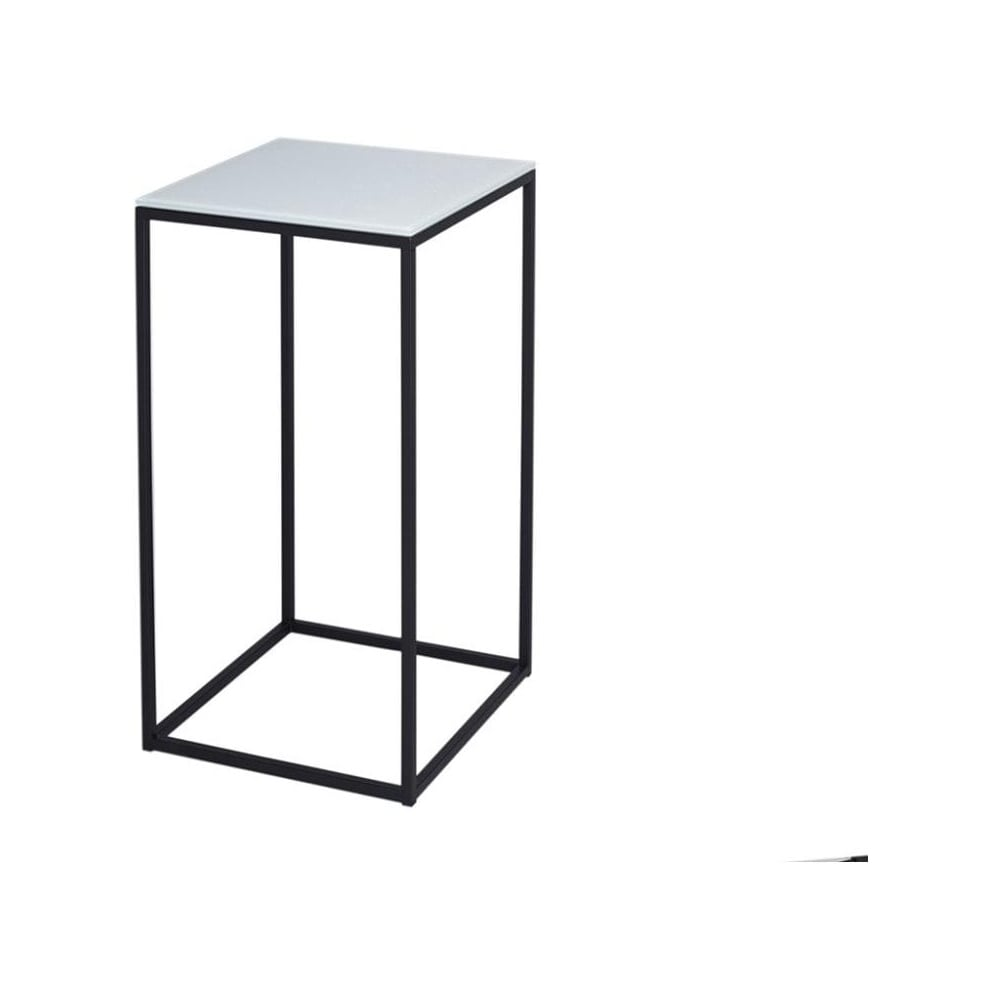 Buy gillmore space white glass and black metal contemporary lamp table white glass and black metal contemporary square lamp table mozeypictures Images