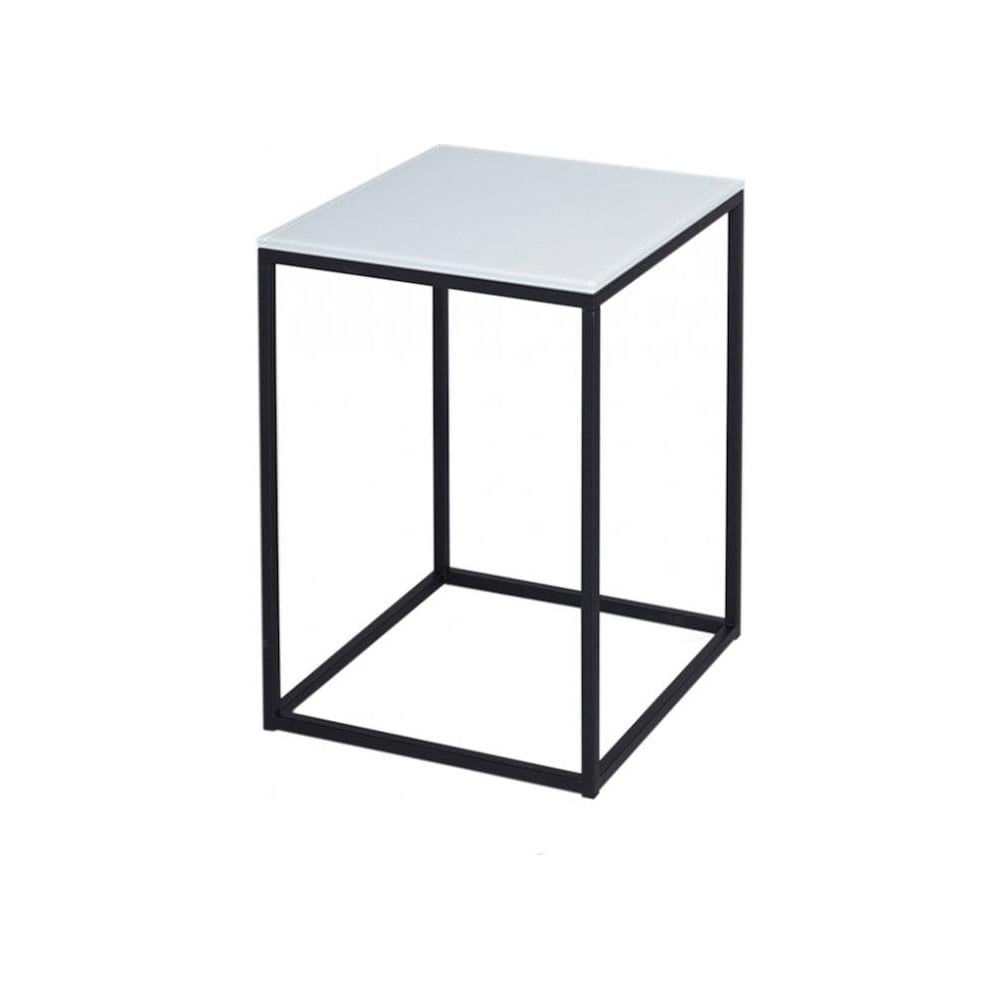 White Glass And Black Metal Contemporary Square Side Table
