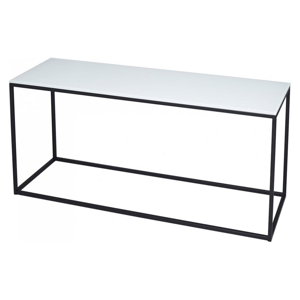 White Glass And Black Metal Contemporary TV Stand