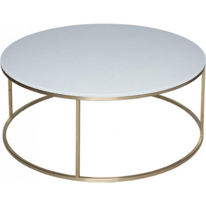 Circular Gold Glass Coffee Table: Buy White Glass & Gold Metal Circular Coffee Table From