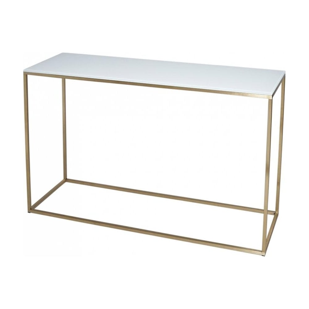 White glass and gold metal contemporary console table