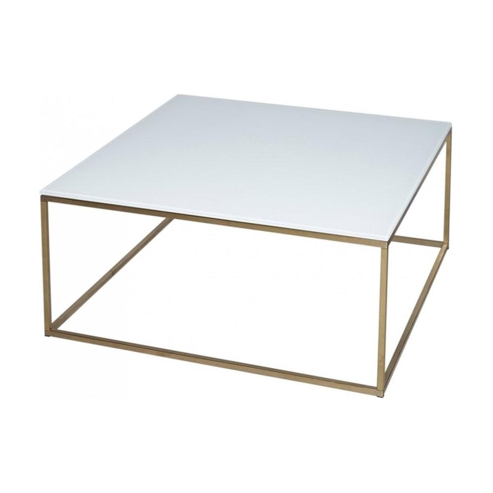 Buy White Glass And Gold Metal Square Coffee Table From Fusion Living