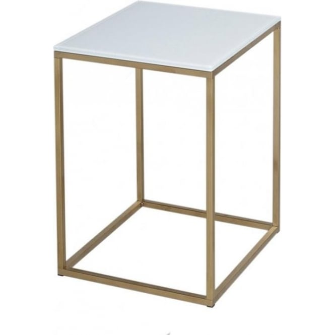 Attractive White Glass And Gold Metal Contemporary Square Side Table