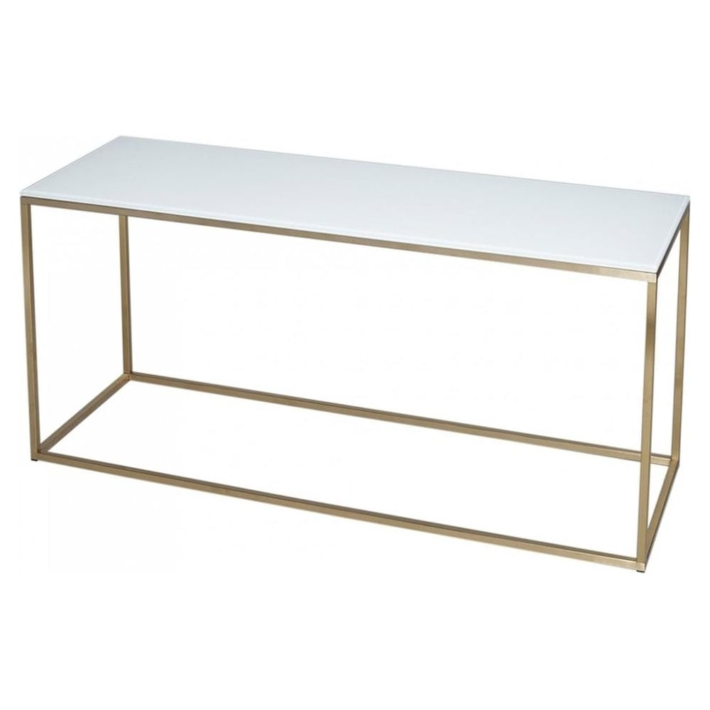 Attirant White Glass And Gold Metal Contemporary TV Stand