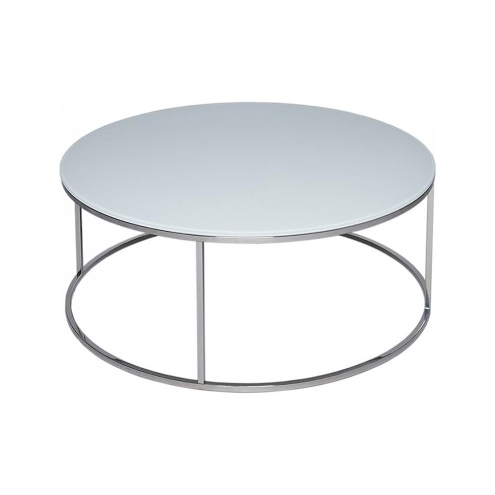 Contemporary Glass Coffee Tables Uk: Buy Glass & Silver Metal Circular Coffee Table From Fusion
